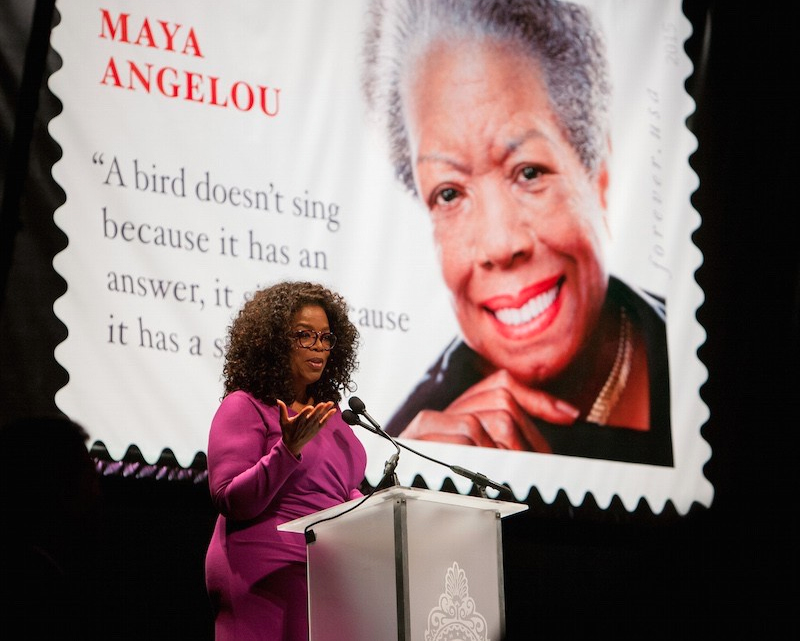 Oprah at Maya Angelou ceremony