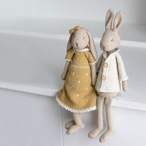 Hr og Fru Hare - Hækleopskrift