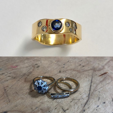 Sapphire and diamonds reset into high carat 18ct+ gold, all sentimental gold used.