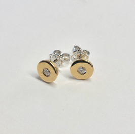 Diamond and gold disc studs