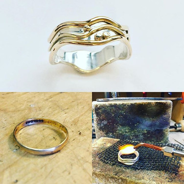 Silver and 9ct gold three wave ring, gold used from an old wedding ring.