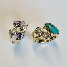 Diamond, amethyst and turquoise rings