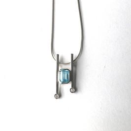 Aquamarine & diamonds in silver