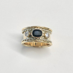 Rope style sapphire and diamond ring