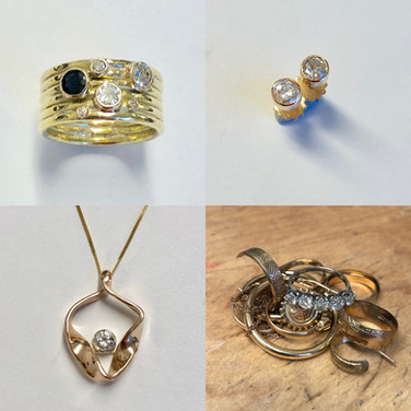 All these pieces made from a pile of old gold, diamonds and a sapphire.