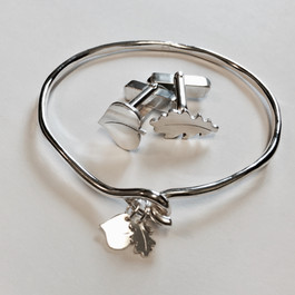 Oak leaf bangle and cuff link set