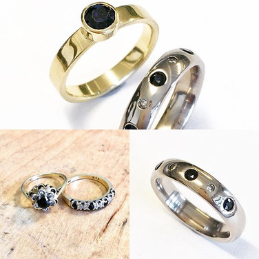 Sapphire and yellow gold bezel set ring and flush set ring with sapphhires and diamonds.