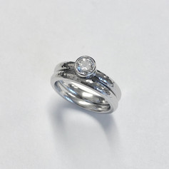 Platinum wedding and engagement ring set