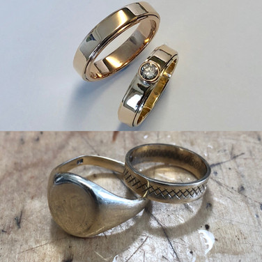 Remake your wedding rings.... perhaps add a diamond as I did in these.