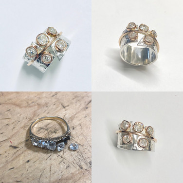 Rocks!!!  Large cushion cut old diamonds set into modern reticulated silver and gold ring.