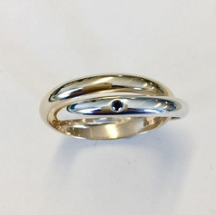9ct gold and silver two ring Russian style set with one black diamond