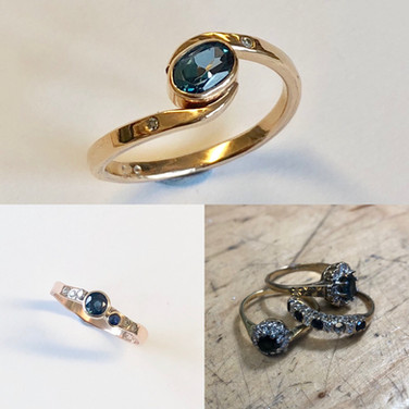 Two rings made from this selection of three, sapphires and diamonds into 9ct gold.