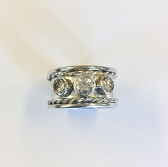 Sterling silver and diamond ring with twist rope edges