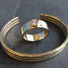 Hammered finish cuff and diamond ring set