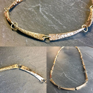 Sandcast necklace with diamonds