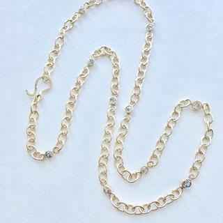 Diamond chain gold necklace