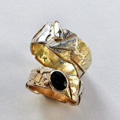 Scrap rings - should think of a better name really but these are made with oddments of gold and silver, reticulated into organic rings.