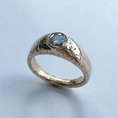 Sand cast 9ct gold ring with diamond