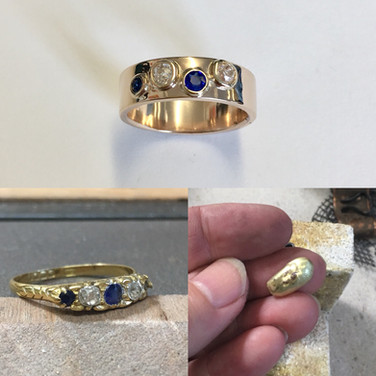 Diamond and sapphire shallow bezel set in 9ct gold.