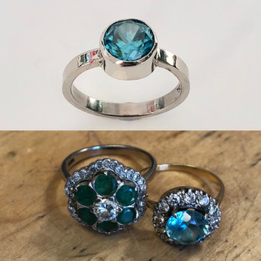 Topaz reset into 9ct white gold, stone from one ring, gold from the other.
