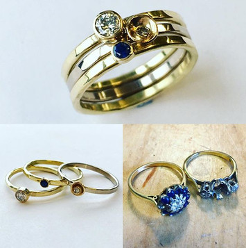 Diamond and sapphire ring, stacking style 9ct gold.