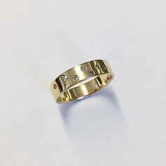 9 ct gold and diamond flush set ring, remade from old gold and odd diamonds.