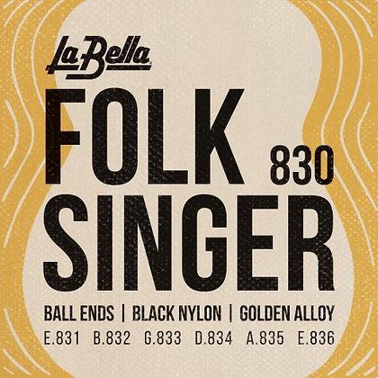 LaBella Folk Singer Black Nylon Ball End Set