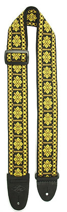 Black and Gold Woven Guitar Strap
