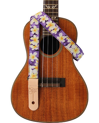 "Purple Plumeria 1"" Uke Strap"