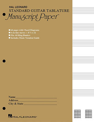 Standard Guitar Tablature Paper
