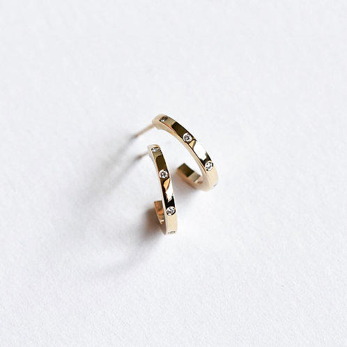 Custom listing for Sue - sterling silver and diamond hoops