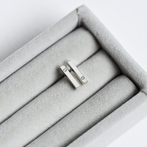 February 2021 - sterling silver and diamond stick studs