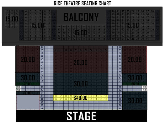 - - $ 4 0 . 0 0 - -  RICE THEATRE PREMIER GENERAL ADMISSION SEATING