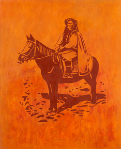 Hutsul girl on horse