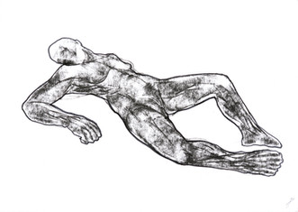 The body which is laying on the back stretching out legs