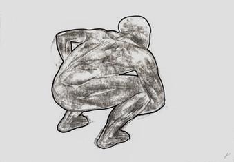 Squatting body back view