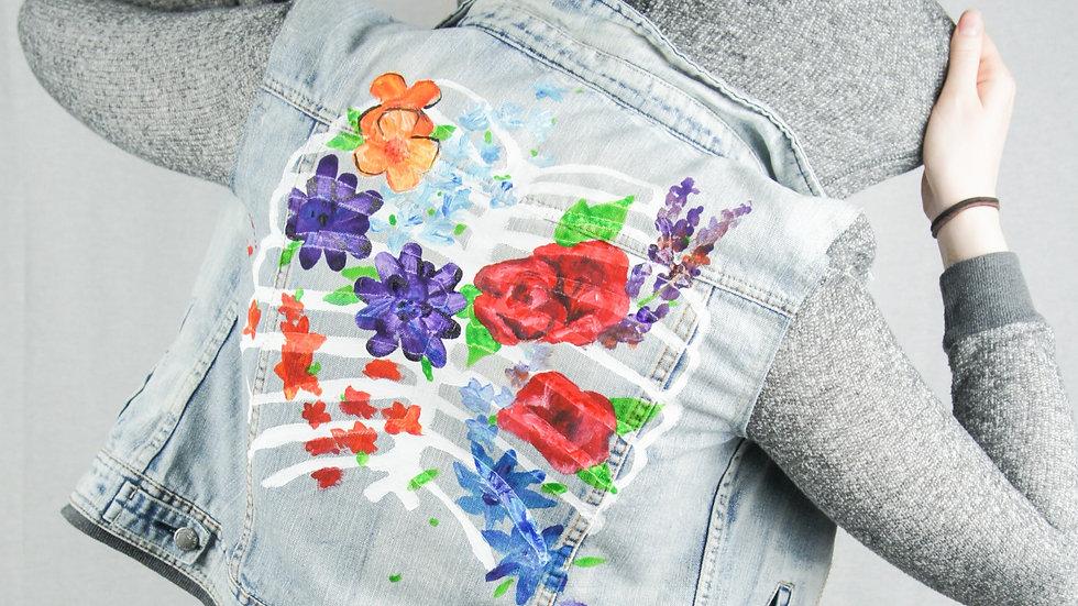 Floral Ribcage Jean Jacket