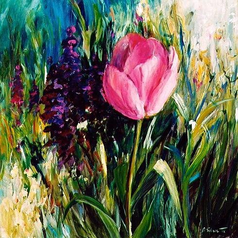 """Tulip, 36""""x 36"""", acrylic  SOLD.jpg"""