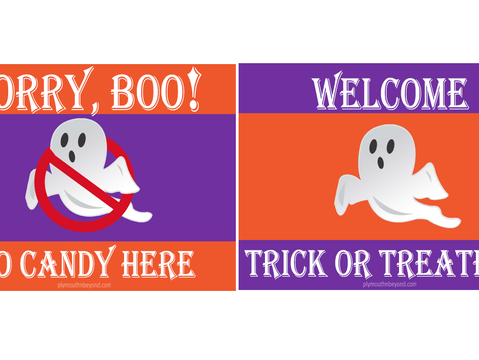 A Halloween Yard Sign Lets Everyone Know if You are Welcoming Trick or Treaters, Supports Food Banks