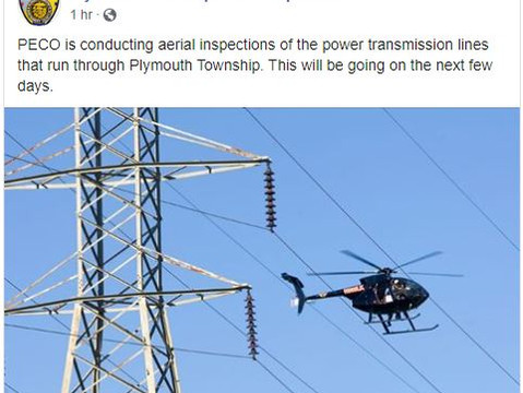 Helicopters Hover as PECO Inspects Powerlines