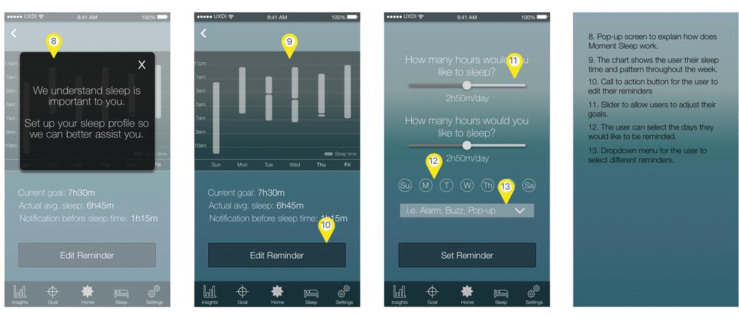 High-fidelity sleep wireframes