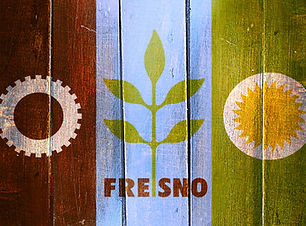 Vintage Fresno flag on grunge wooden pan
