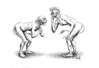 Dos hombres que se miran con el rabo entre las patas