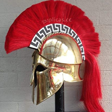 Deluxe Brass Greek Corinthian helm with Red Crest