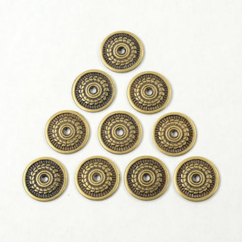 Brass Laurel-Leaf Lorica or Helm Medallions - Set of 10 - SNSA9719