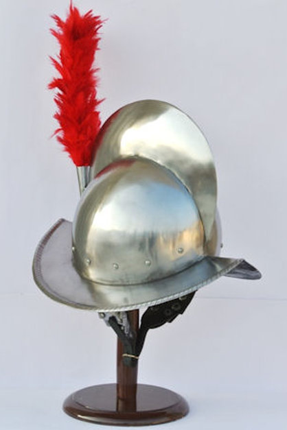 Combed Morion Helm with Red Plume - 16 Gauge Steel - SNH2267PL16