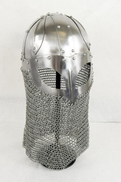 Viking Ocular Helm with Chainmail Camail - 16 Gauge Steel - SNH2215PL16