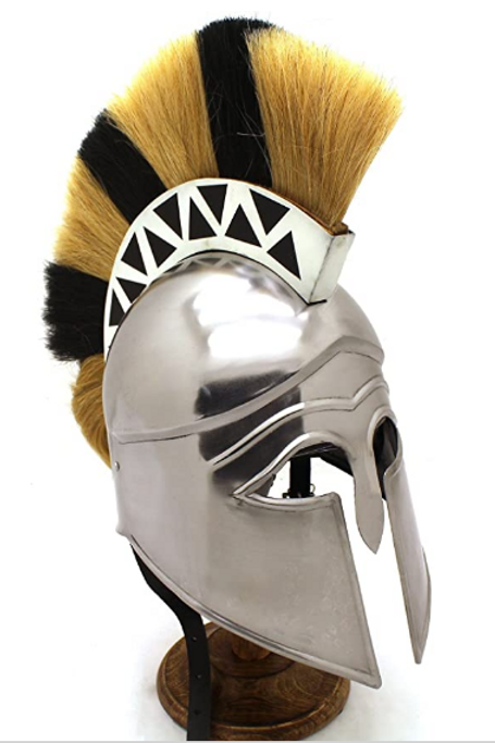 Steel Greek Helm with crest