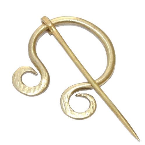 Brass Fibula with Spiraled Ends SNAM8804