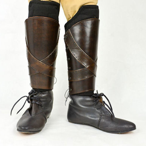 AH6508 Leather Greaves
